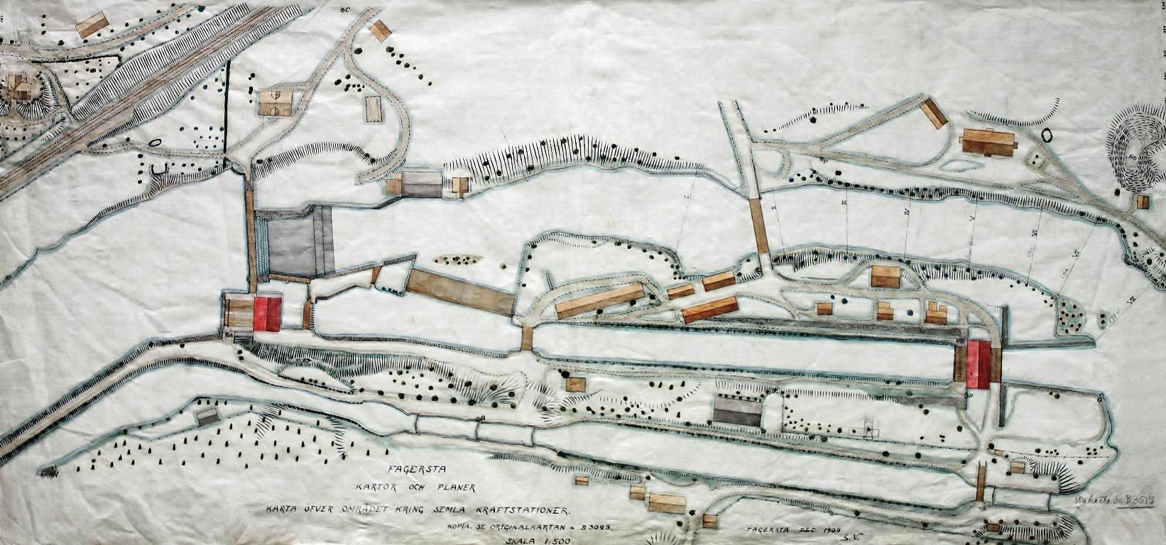 Kraftverk Semla 1 och 2 , karta från 1904