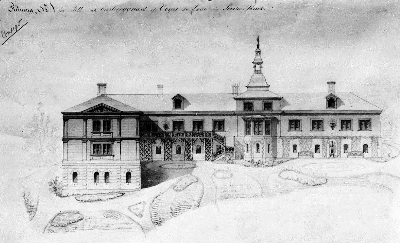 Semla Herrgård, vy från ett utbyggnadsförslag av en flygelbyggnad som inte blev utförd. A.W Edelswärd, Stockholm 30 dec. 1862