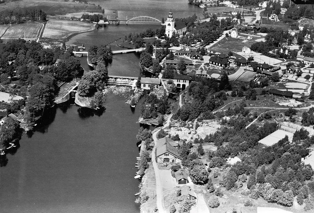 Flygfoto Västanfors hyttområde, 1930-talet