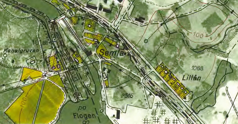 Villorna vid Lillån, klipp från ekonomisk karta från 1964