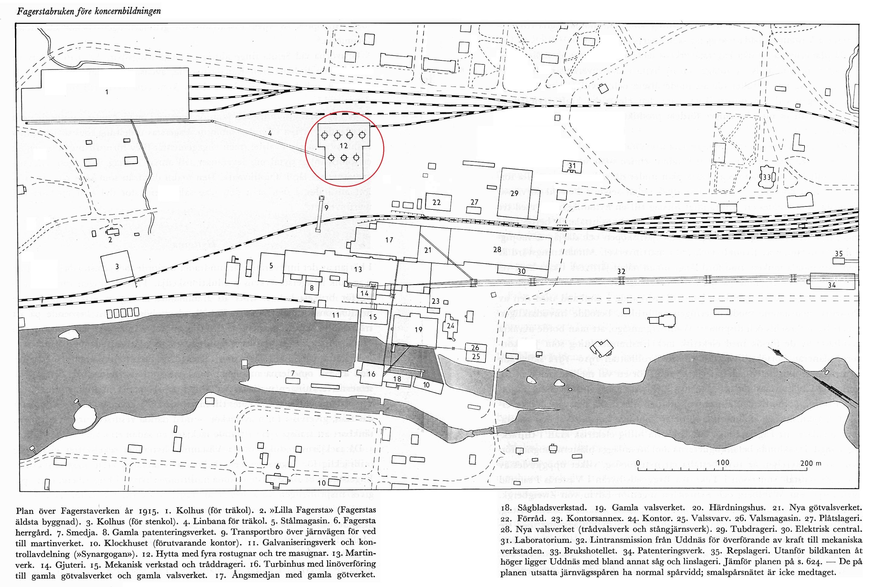 11, Karta Fagersta Bruk sammansatt Med inringad hytta höjd just